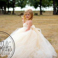 Ivory Champagne Flower Girl Dress with Detachable Train