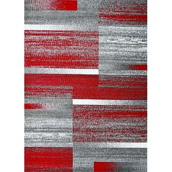 5894 Red Modern Contemporary Area Rugs