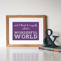 'What A Wonderful World' Song Lyric Art Print