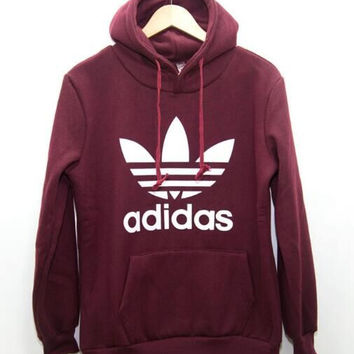 "Fashion ""Adidas"" Print Hooded Pullover Tops Sweater Sweatshirts Wine red"