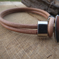 Mens Leather Bracelet, Women Leather Bracelet, Clasp Bracelet, Tan Leather Bracelet,Unisex Leather Bracelet, Handmade Brown  Leather Cuff