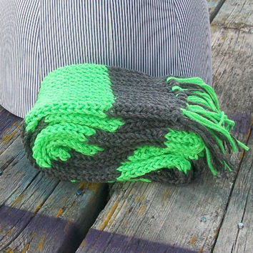 Knitted Lime Green and Gray Long Scarf Ready to Ship