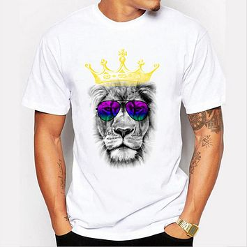 Arrival Hip hop Men's 3D lion pattern printed O-neck Casual Funny Top T-shirt