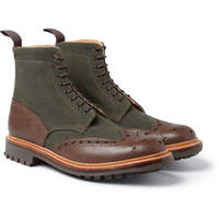 London Collections. Men - Christopher Raeburn X Grenson Canvas and Textured-Leather Boots | MR PORTER