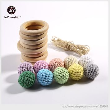 Let's Make Crochet Chaw Wooden Rings Round Beads 20pc/set Rope Set For Handmade Baby Play Gym Crib Toys Baby Teether