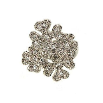 Cluster of Flowers Silvertone Fashion Cocktail Ring with Genuine Cubic Zirconia