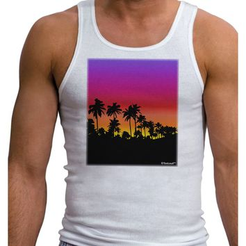 Palm Trees and Sunset Design Mens Ribbed Tank Top by TooLoud