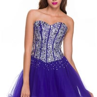 2013 Homecoming Dresses - Royal Blue Sweetheart Corset Short Dress - Unique Vintage - Prom dresses, retro dresses, retro swimsuits.