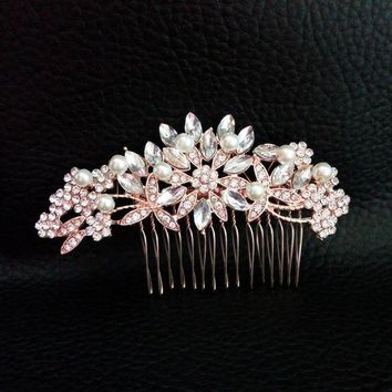 VONG2W Art Deco Rose Gold and Silver Clear Crystals and Pearls Flower Leaves Wedding Hair Comb Bridal Headpiece Hair accessories