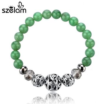 Szelam 2017 Womens Unique Bijoux Jewelry Fashion Opal Buddha Bracelet Green Bead Bracelets Bangles For Women SBR140146