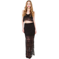Black Sheer Mesh Side Seam Slit Maxi Hip Lace Skirt