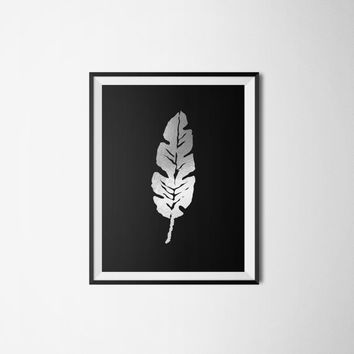 Printable poster, Leaf poster, Black and silver poster, Wall art, Printable wall art, Silver poster, Instant download, Silver foil poster