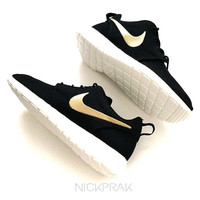 Metallic Gold Swoosh Custom Nike Roshe One Black