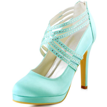 EP11085-PF MInt Green Women Bride Bridesmaids Girls High Heel Party Rhinestones Platforms Zip Strap Wedding Bridal Evening Shoes