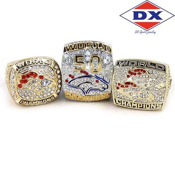 Drop shipping 1997 1998 2015 Denver Broncos championship rings setl with wooden box  Support for custom