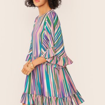 Exaggerate Bell Sleeve Striped Dress