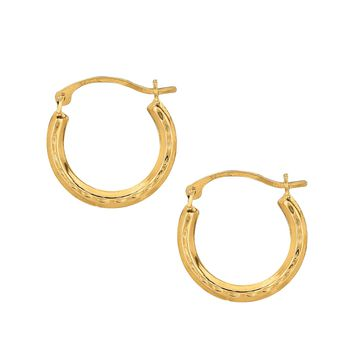 10K Yellow Gold Shiny Diamond Cut Small Round Hoop Earring  with Hinged Clasp