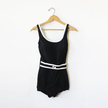 SALE 1960s black swimsuit /  60s maillot bathing suit