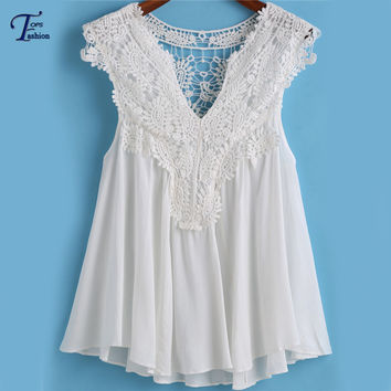 Hot Sale New Brand Korean Style Women Sheinside Cute Elegant Summer Simple White V Neck Pleated Lace Cheap Loose Tank