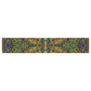 "Nikposium ""Yellow Jacket"" Green Abstract Table Runner"
