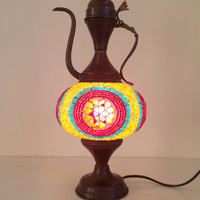 Colorful mosaic lamp made with vintage look Turkish decorative base, Exotic Lamps, Authentic Middle Eastern lamp, Small Night lamp, Antique