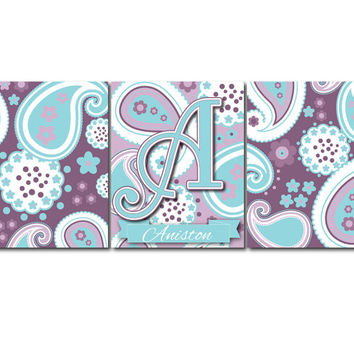 Nursery Wall Decor Baby Girl Paisley Design Art Decor Prints Personalized Art Prints Girls Room Set of 3 Prints Purple Teal Paisley