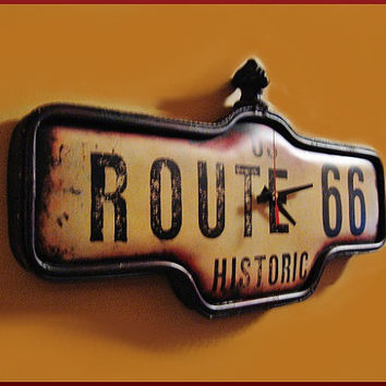Metal Wall Clock Repurposed Route 66 Reproduction Sign
