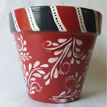 clay pot, hand painted, kitchen decor, kitchen utensil holder,red pot, damask planter, italian clay pot