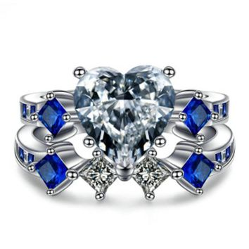 Antique Heart Crystal Jewelry Zircon Blue Cz Wedding Band Ring Set  White Gold Filled Female Finger ring