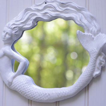 Beach Cottage Decor Cast Iron Round Mermaid Mirror  - PICK YOUR COLOR