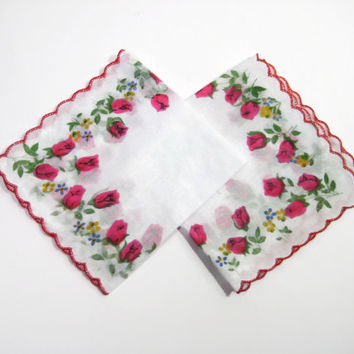 Rose Decorated Handkerchiefs, Vintage New - Old Hankies, White Cotton Pink Scalloped Border Hanky's