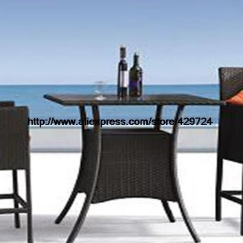 Outdoor Bar Chair Table Classic Rattan Garden Set Leisure Wicker Garden Beach Hotel Holiday Bar Table 2 Chair Set Rattan Set