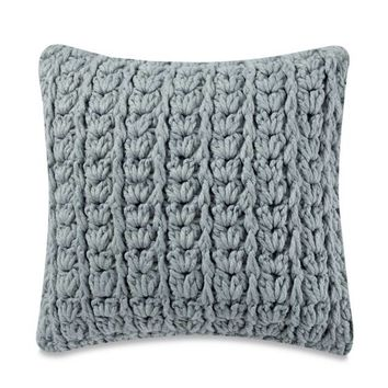 Kenneth Cole New York Mineral Yarn-Dyed Cable Knit Square Throw Pillow in Seaglass