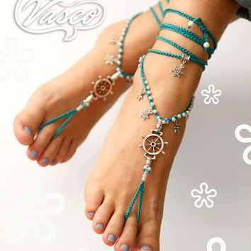 Rudder Barefoot Sandals. Turquoise Hippie Shoes. Gypsy Bellydance Shoes. Slave anklet