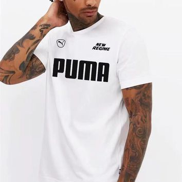 PUMA 2019 new men's sports and leisure breathable round neck half sleeve T-shirt white