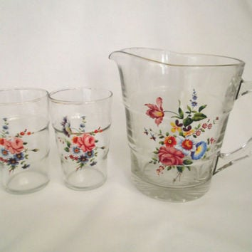 Vintage mid century Pitcher and glass set with floral motif and gold luster rim. Retro glassware.Circa 1950s to 60s