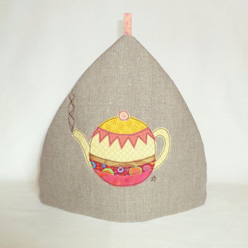 Embroidered tea cosy with teapot design on natural linen with pink diamond pattern cotton lining