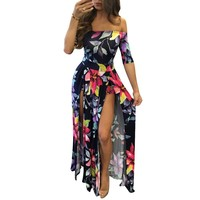 Floral Off Shoulder Half Sleeve Romper Maxi Dress
