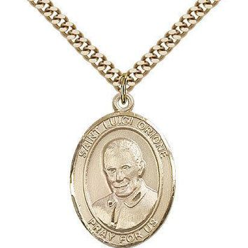 "Saint Luigi Orione Medal For Men - Gold Filled Necklace On 24"" Chain - 30 Day... 617759546811"