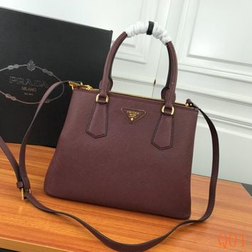 HCXX 19Aug 1008 Prada 1BA232 Leather Fashion Kell Bag Casual Tote Shoulder Qulited Bag 33-17-24cm