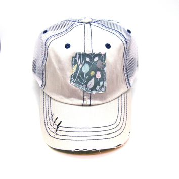Arizona Trucker Hat - Distressed - Floral Fabric State Cutout