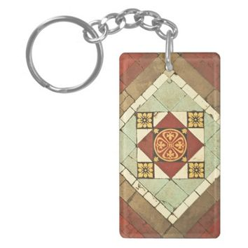 geometric victorian floral ceramic tile design keychain