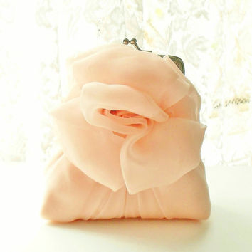 Light Orange Peach Chiffon Rose Purse - Size Small - MADE TO ORDER