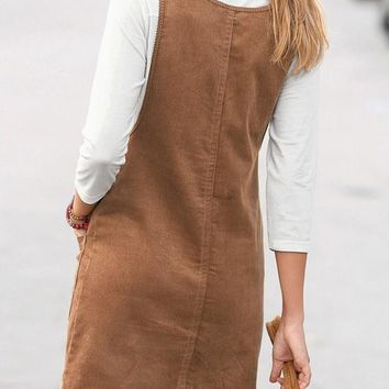 Streetstyle  Casual Khaki Plain Pockets Shoulder-Strap Cute Teens Corduroy Overall Skirt