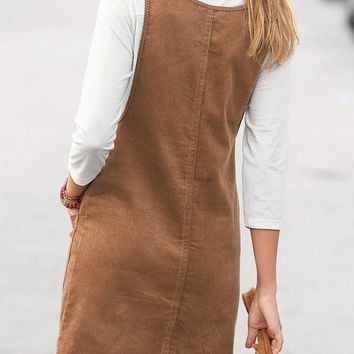 Casual Khaki Plain Pockets Shoulder-Strap Cute Teens Corduroy Overall Skirt