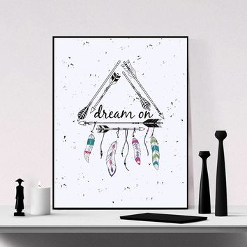 Tribal Frame with Ethnic Arrows and Feathers American Indian Motifs  Boho Hand-drawn Wall Hanging Art Print Home Decor Wall Hang
