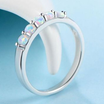 ONETOW Rainbow agate ring with white opal stone atmosphere female models ring