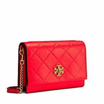 Tory Burch Georgia Quilted Leather Mini Crossbody Bag (Dahlia Pink)