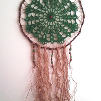 Dream Catcher Green and Brown Jute Wall Hanging READY TO SHIP