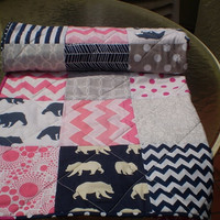 Baby quilt,grey,navy blue,hot pink,baby girl bedding,baby girl quilt,woodland,rustic,toddler,organic,spoonflower,chevrons,bears,Bear Hug